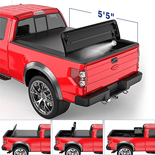MOSTPLUS Quad Fold Soft Truck Bed Tonneau Cover On Top Compatible for 2015-2021 Ford F150 F-150 Bed...