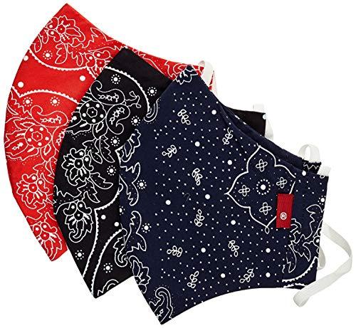 Levi's 3pk Bandana Reusable Face Cover, Blue/Black/Red, S