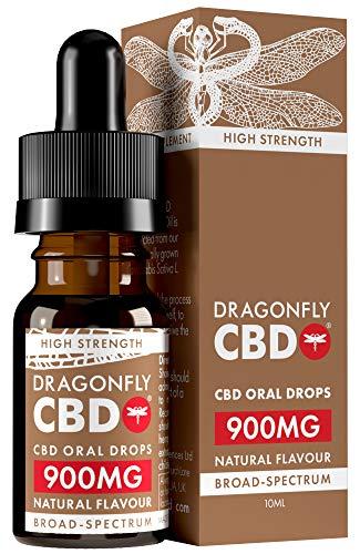 Dragonfly CBD Broad Spectrum High Strength CBD Oil Oral Drops, 900 mg, 10...
