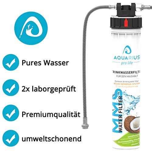 AQUARIUS pro life ® - Trinkwasserfilter - 0,1 Mikron Porengröße - Micro-Membran-System - bis zu 11.200 Liter/Jahr - Aktivkohlefilter + Keimsperre + Anti-Kalk-Aktivator - Einbaufilter - Wasserfilter