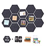 12 Pcs Thickened Felt Hexagon Tile Board,Cork Board,Memo Board,with Adhesive on Back Bulletin Board,Message Board,for School,Office,Home,Bedroom and Shop,(7.9×6.8'')+Notepad+50 pcs Pin+Manicure Set