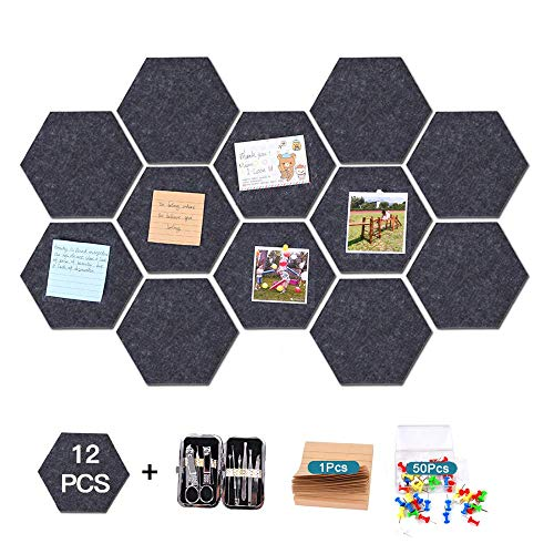 12 Pcs Thickened Felt Hexagon Tile Board,Memo Board,Kids Cork Board,with Adhesive on Back Hexagon Bulletin Board,Pin Board-for Office,Home,Bedroom and Shop(7.9×6.8'')+Notepad+50 pcs Pin+Manicure Set