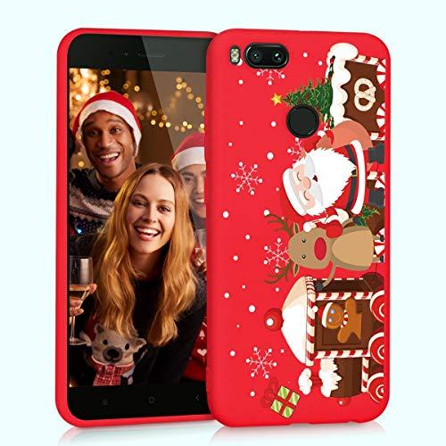 Yoedge Funda para Xiaomi Mi A1, Cárcasa Silicona Rojo Navidad con Dibujos Nieve Ciervo de Diseño Antigolpes Case Bumper Fundas para Xiaomi Mi A1 Smartphone. (Navidad)