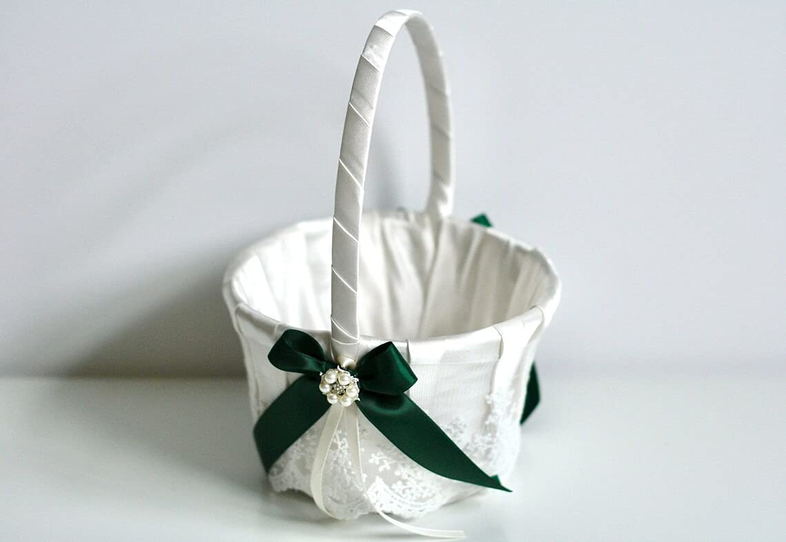Flower Girl Basket Hunter Green cheap Ring Max 49% OFF La Pillow Ivory and Bearer