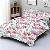 Juego de funda nórdica, flamencos en muchos colores Ilustración de animales exóticos de aves dibujadas a mano Juego de cama decorativo de 3 piezas con 2 fundas de almohada, azul bebé salmón rosa, el m