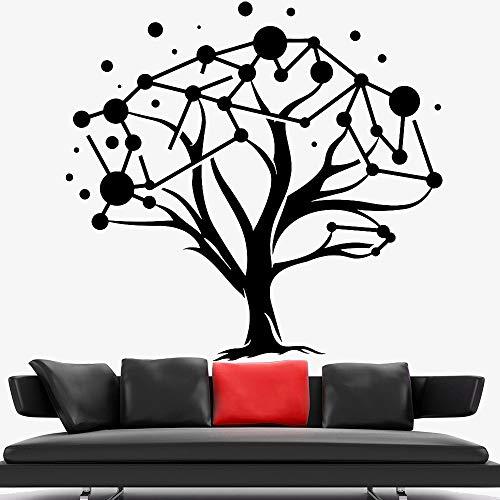 BailongXiao Geometrische Kunst Wandtattoo für Klassenzimmer natürlichen Baum Muster Schatten Vinyl Wandaufkleber Dekoration Schlafzimmer Moderne Wohnkultur 42x43cm
