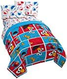 Jay Franco Sesame Street Elmo Cookie Squares 4 Piece Twin Bed Set - Includes Reversible Comforter & Sheet Set - Super Soft Fade Resistant Microfiber - (Official Sesame Street Product)