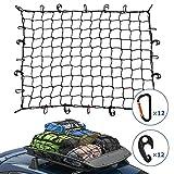 Kohree カーゴネット 90×120cm 車用 トランクネット Dリング&2WAYフック付 荷物落下防止 収納ポーチ付属 3年安心サービス