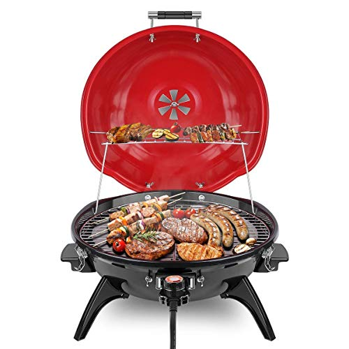 Techwood Electric BBQ Grill 15-Serving Portable Grill for Outdoor and Indoor Use, 18 inch Tabletop...