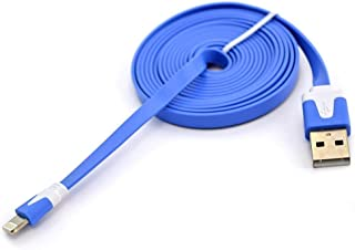 Flat Noodle Cable Data Sync Charger Cord for IOS iPhone - Blue