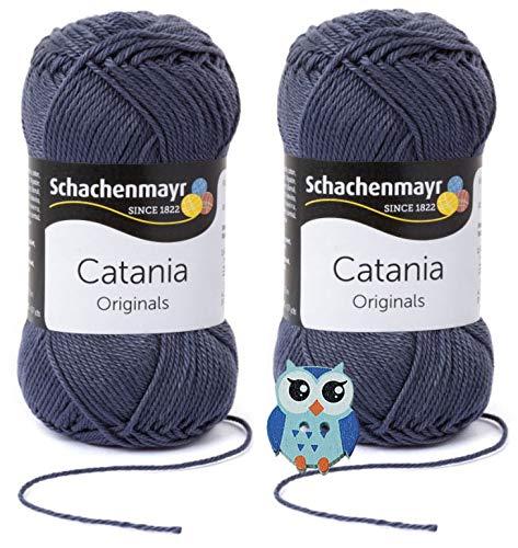 Schachenmayr Catania Wolle 2x50 Gr, 100% Baumwolle + 1 Eulen Knopf(393 Graphit)