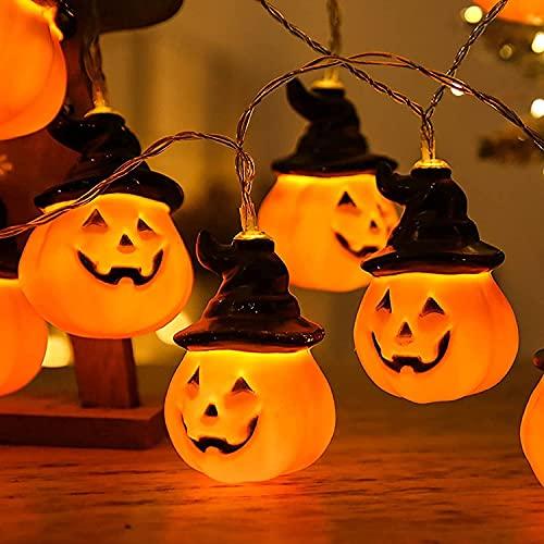 TANKKWEQ Luces de Cadena de linternas de Calabaza con Sombrero de Asistente, fantástico aguansa DIRIGIÓ Lámpara Decorativa, Accesorios de Horror Halloween, luz de Interior de decoración al Aire Libre