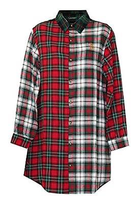 Ralph Lauren Signature Long Sleeve Plaid Sleepshirt Nightgown