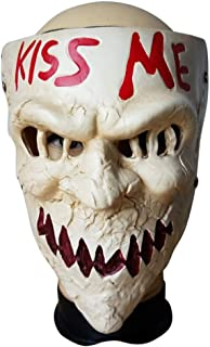 The Purge Kiss me Resin Mask Horror Game Scary Joker Mask for Halloween Masquerade Party Festival Club