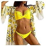 LHWY Bikini Mujer 2020 Sexy Push Up Traje de baño de Dos Piezas Sujetador + Braguita Set Conjuntos de Bikinis(Amarillo L)