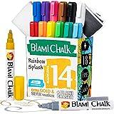 Blami Arts - Rotuladore de Tiza Líquida Pack de 14 - Borrador y 18 Etiquetas Reutilizables - Marcadores Efecto Tiza Borrables No Tóxicos de Colores con Doble Punta Para Pizarra Negra Cristal y Espejo