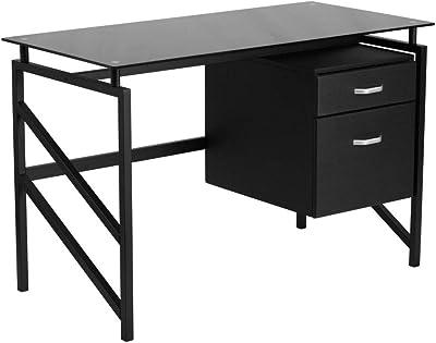 Flash Furniture Black Glass 2 Drawer Desk
