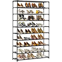 Techmilly 10 Tiers Shoe Organizer, Non-Woven Fabric, Space Saving, Stackable and Durable Shoe Storage Shelf (Black)