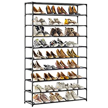 TECHMILLY Shoe Rack 10 Tiers Shoe Organizer 50 Pairs Non-Woven Fabric Space Saving Stackable and Durable Shoe Storage Shelf  Black