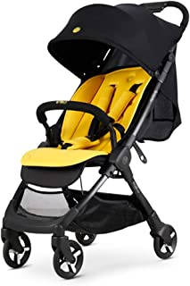 Laz Stroller Bassinet,Folding Pram Strollers Infant All Baby Carriage City Select Toddler Pushchair for Girl Boy add Net Cover (Color : Yellow)