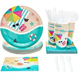 Disposable Dinnerware Set - Serves 24 - Summer Beach Party Supplies, Includes Plastic Knives,...