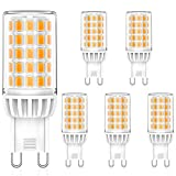 Lámpara LED G9, Blanco Cálido 3000K, 5W de Repuesto Para Lámpara Halógena G9 50W 60W, 520LM, AC 230V, G9 Mini Lámpara Incandescente, Sin Parpadeo, No Regulable, Paquete De 5