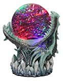 Ebros Gift Blue ICY Frost Giant Leviathan Dragon LED Night Light Glitter Sparkle Water Globe Storm Ball Figurine with Sound Activated Sensor Dungeons and Dragons Home Decor Fantasy Statue