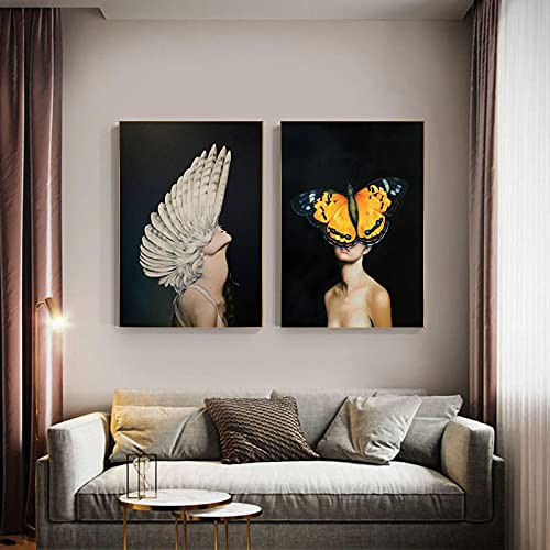 Arte abstracto mujer emplumada lienzo pintura moderna pared arte carteles e impresiones imagen sala decoración del hogar 20 x 28 pulgadas