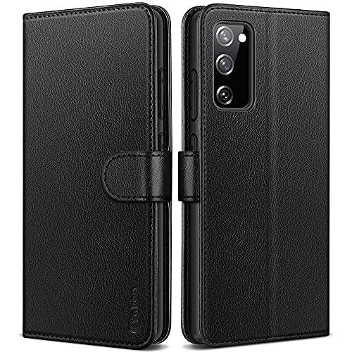 Vakoo Wallet Serie Handyhülle für Samsung Galaxy S20 FE Hülle, mit RFID Schutz, Schwarz