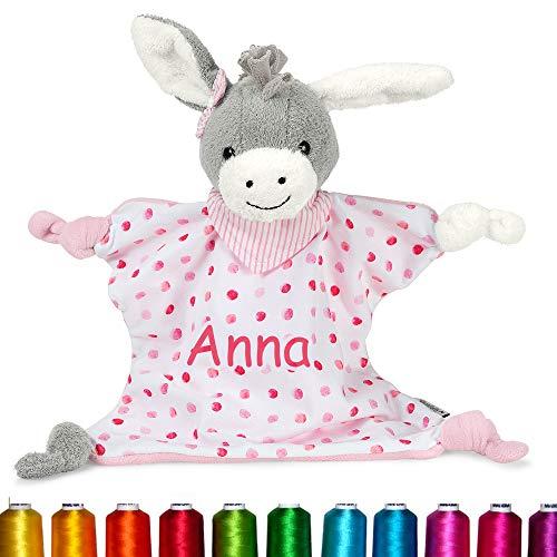 LALALO Sterntaler Kuscheltuch / Schmusetuch Bestickt mit Namen für Baby & Kinder personalisiert, Mädchen Rosa, Ab dem 1. Monat, 3211838, (Emmi Girl M)