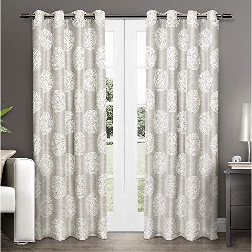 Exclusive Home Curtains Akola Medallion Linen Jacquard Grommet Top Curtain Panel Pair, 54x108, Dove Grey, 2 Piece