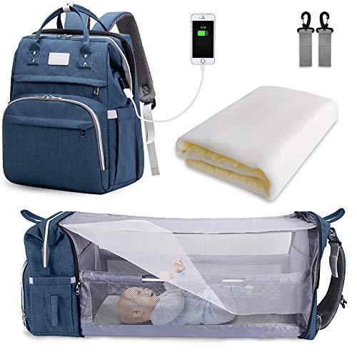 SNDMOR-Mochila para pañales de bebé de gran capacidad, para cuna de viaje, plegable, organizador de mochila para pañales de cuna multifuncional con cambiador de pañales(color azul marino)