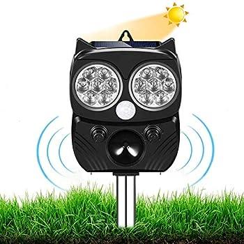 Repulsif Chat Exterieur, Répulsif Animaux Alarme Sonore, Chat Ultrason Chargement étanche Solaire ou USB Ultrason Chat Animaux Nuisibles, pour Chats, Chiens, Renards (Noir)