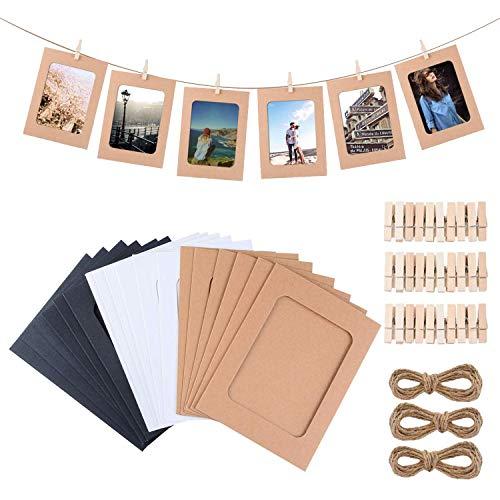 Gudotra Kit 30pcs Marco de Foto de Papel para Foto de 4.5x6in con Cuerda y Clip de Madera para Decoración de Pared