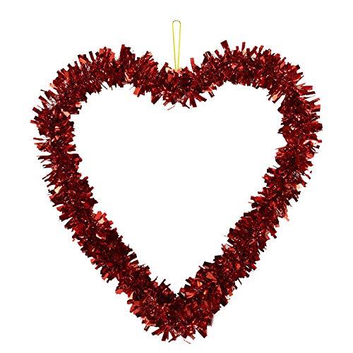 WENHAO - Ghirlanda decorativa da parete a forma di cuore, per San Valentino, decorazione da appendere alla parete, decorazione per porta, giardino, matrimonio, decorazione