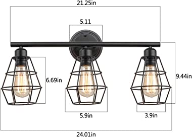 KOONTING 3-Light Industrial Bathroom Vanity Light, Metal Wire Cage Wall Sconce, Vintage Edison Wall Lamp Light Fixture for Ba
