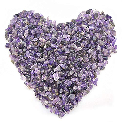FORBY Amethyst Tumbled Chips Stone Crushed Crystal Quartz Irregular Shaped Stones for Home Decorative Stones Vases Plants Succulents Cactus 1pound(About 460 Gram)