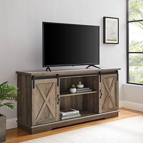 Walker Edison Richmond Modern Farmhouse Sliding Barn Door TV Stand for TVs up to 65 Inches, 58 Inch, Grey Wash