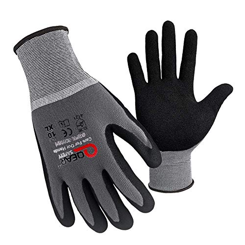 Work Gloves for Men and Women, Mechanics Gloves, 3 Pairs for QQEAR SAFETY MicroFoam Nitrile Coated Work Gloves, Nylon Knitted Liner Grey Fine Spandex, Grip And Breathable (Large/9')