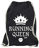 HARIZ Turnbeutel Running Queen Laufen Joggen Plus Geschenkkarte Schwarz One Size