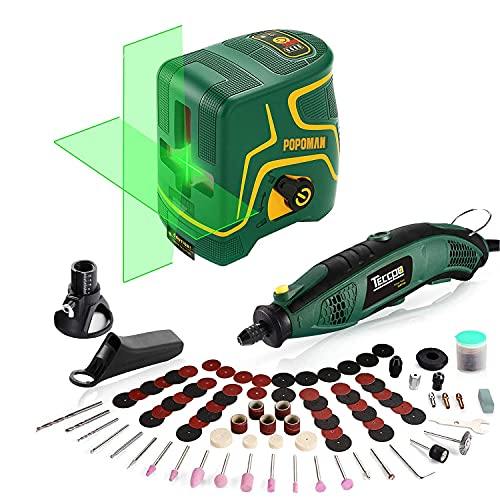 Laser Level, 147ft, Self Leveling, Green Cross line laser, Pulse Mode, Rechargeable, Horizontal/Vertical Line + TECCPO Rotary Tool Kit 1.5 amp, Universal Keyless Chuck, 84 Accessories, Cutting Guide