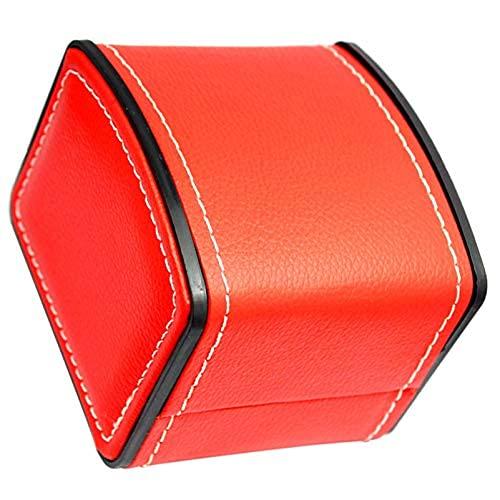 ZRDSZWZ Caja organizadora de viaje fiable para relojes de viaje, joyería de viaje, caja organizadora para hombres, joyas, relojes, pulsera y collar negro (color: rojo)