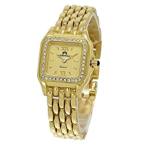Reloj oro 18k Cromwell mujer brillo bisel diamantes brillantes esfera color champang cuadrada