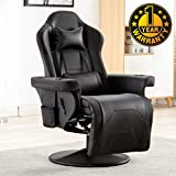 Merax Gaming Recliner Gaming Chair Desk Chair with Footrest,Headrest,Lumbar Pillow,2 Cup holders, 2 Removable Side Pouches,Black