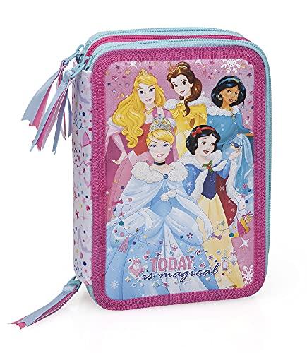 Disney Princess 12634 Federmäppchen, dreifach gefüllt, 44 Zubehörteile, 20 cm, Aurora, Belle, Jasmin, Cinderella, Schneewittchen