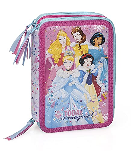 Principesse Disney 12634 Astuccio Triplo Riempito, 44 Accessori Scuola, 20 Centimetri, Aurora, Belle, Jasmine, Cenerentola, Biancaneve