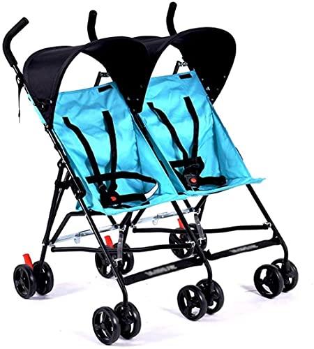 Cochecito de bebé doble Cochecito de bebé ultra ligero para dos niños, tamaño de paraguas doble, cochecito de bebé con mosquitero, carrito de bebé (color: D)