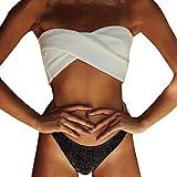 SXXDERTY Traje de baño de mujer Bandeau Bikini Set Push Up Sexy Brasileño Acolchado Bikini Bañadores Mujeres Mar Dos Piezas Cintura Baja Bikini Parte inferior Playa Verano