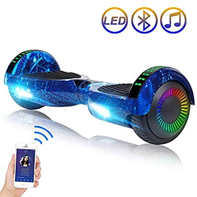 """SISIGAD Hoverboard 6.5"""" Two-Wheel Self Balancing Scooter with Bluetooth Speaker Electric Scooter for Adult Kids Gift UL 2272 Certified - Starry Sky"""