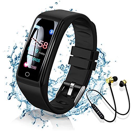 Smartwatch Reloj Inteligente y Auricular Bluetooth Deportivos, 0.96'' Mujer Hombre Niños Pulsera, Smart Watch Fitness Tracker, Temporizador, Monitor de Ritmo Cardíaco, Podómetro (Negro)